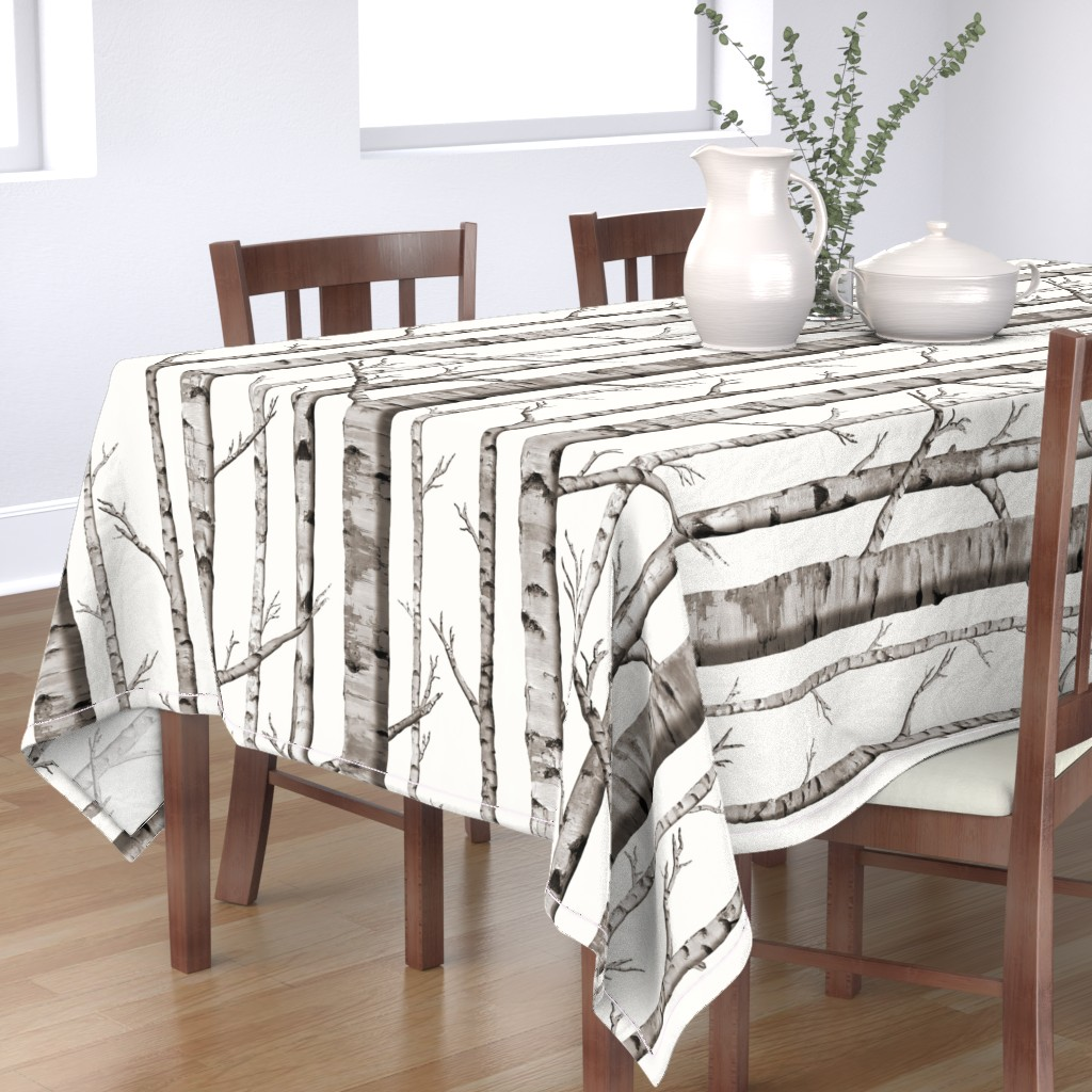 Bantam Rectangular Tablecloth featuring Birch Grove Fabric and Wallpaper in Warm Grey and Linen White by willowlanetextiles