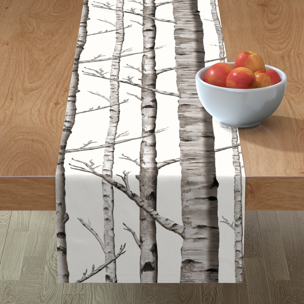 Minorca Table Runner featuring Birch Grove Fabric and Wallpaper in Warm Grey and Linen White by willowlanetextiles
