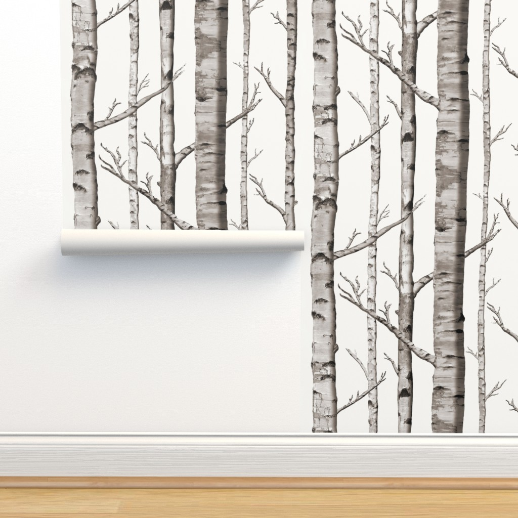 Isobar Durable Wallpaper featuring Birch Grove Fabric and Wallpaper in Warm Grey and Linen White by willowlanetextiles