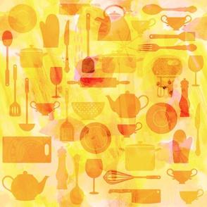 Kitchen Utensils in Orange and Pink