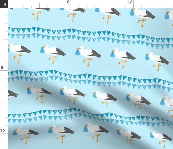 Stoff-Meterware Vögel, Junge, Baby, Girlande, Kinderzimmer, blau, Storch,  Kindergarten