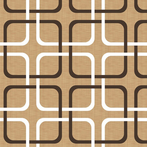 Squircle Lock ~  Chocolat and White on Coquille ~ Linen Luxe