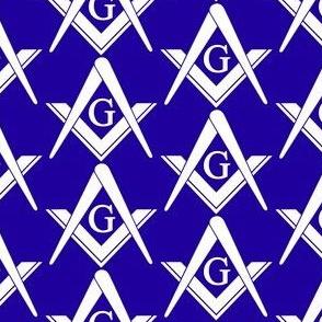 "Large 2"" Blue Masonic Square Compass"