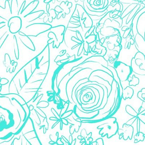 In The Garden Sketch// Bright Turquoise