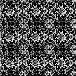 Victorian Black And White Flower Motifs Fabric 4