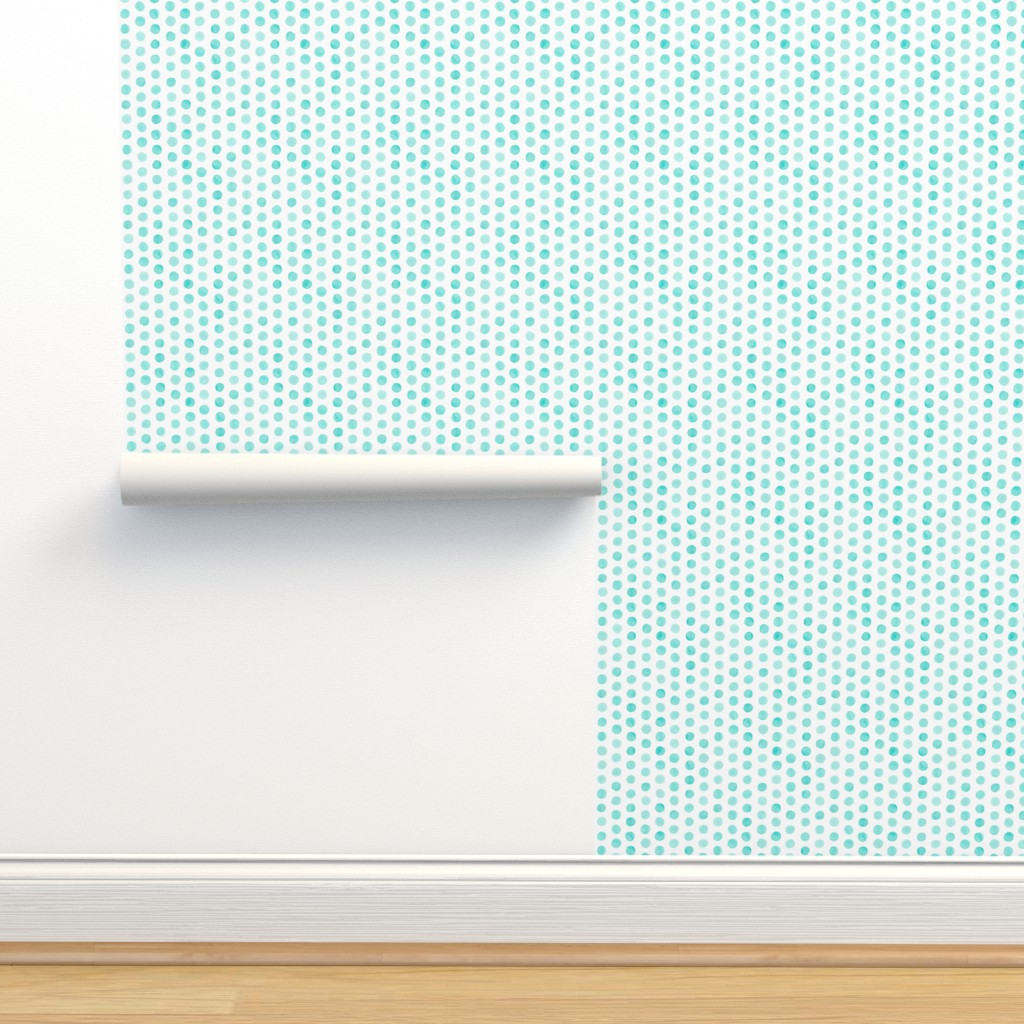Isobar Durable Wallpaper featuring Watercolor Dots: Pale Turquoise by nadiahassan