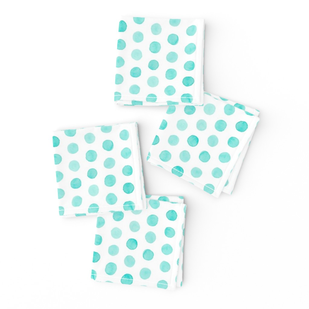 Frizzle Cocktail Napkins featuring Watercolor Dots: Pale Turquoise by nadiahassan