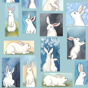 Watercolor Bunnies on Blue