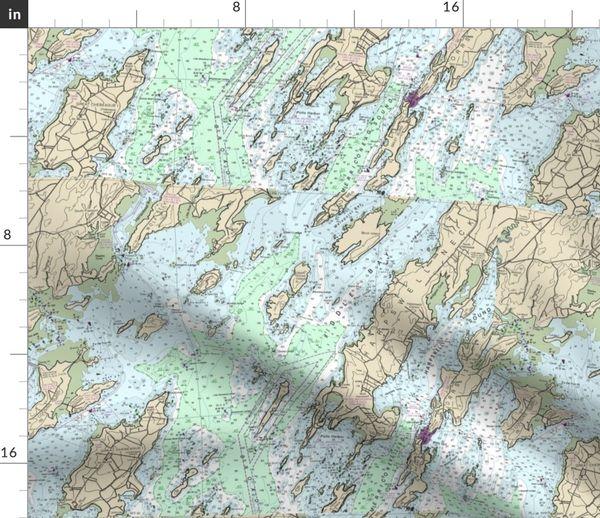 Maritim Landkarte Handtuch Inseln Maine Kusten Norden Karte