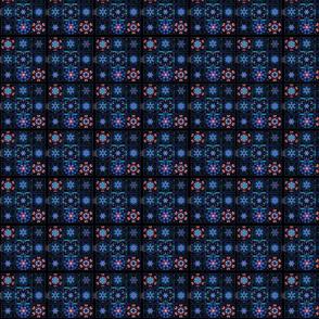 Blue Fractal Collage Pattern