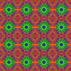 Lime Green and Orange Retro Fractal Pattern