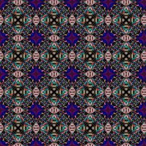 Blue Retro Kaleidoscope Pattern