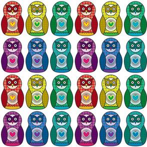Rainbow Matryoshka Owl Pattern