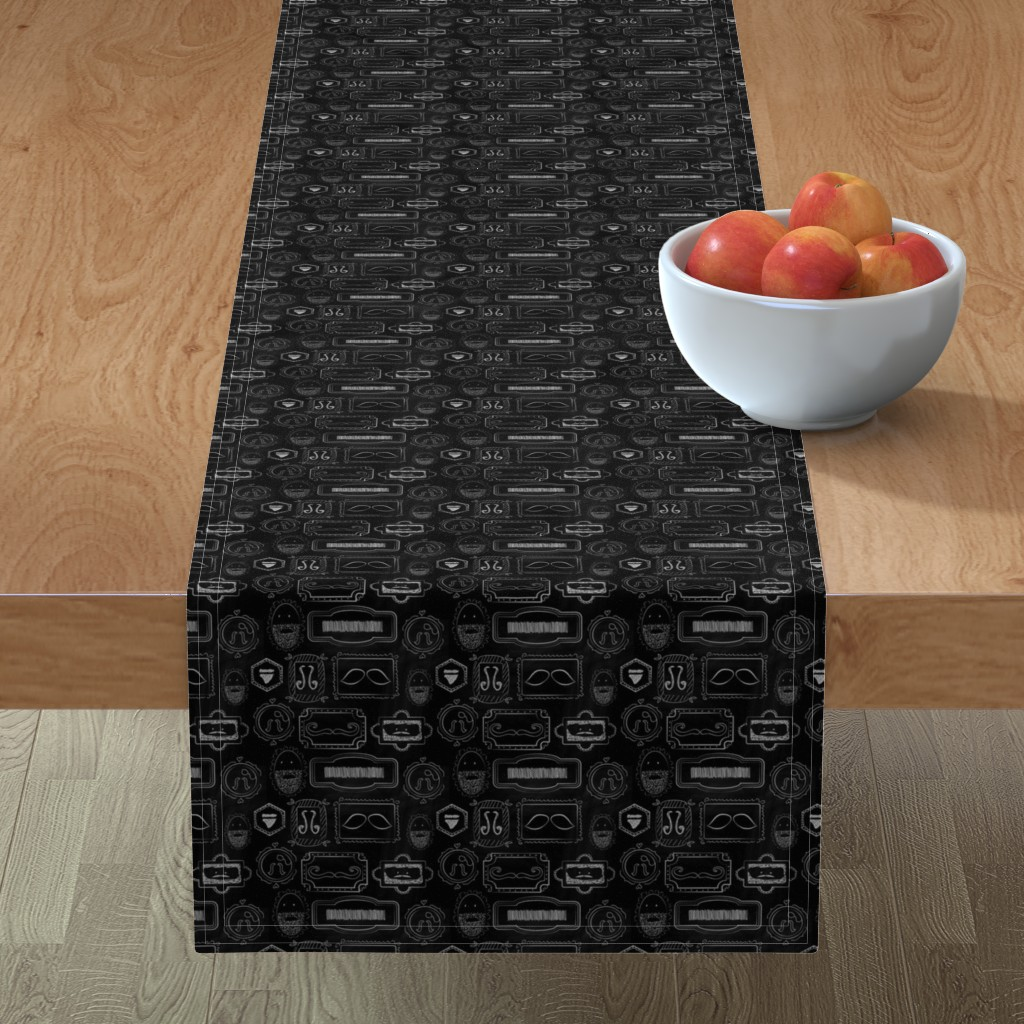 Minorca Table Runner featuring Facial-Hair-of-a-Gentleman by linziloop
