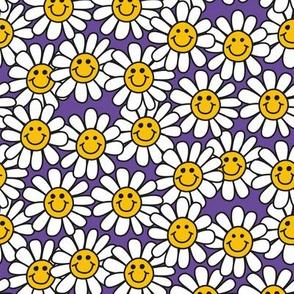 Purple Smiley Daisy Flower Pattern