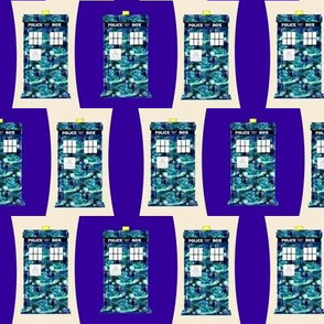 Starry Night Police Boxes on Police Box on Cream and Purple