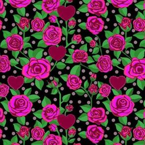 Magenta Pink rose floral // hearts //polka dots
