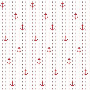 Sailor Anchors Red on White