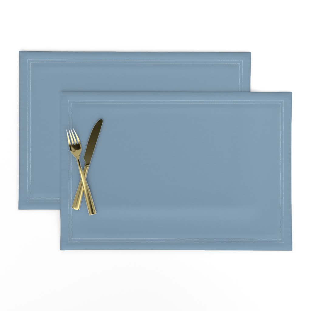Lamona Cloth Placemats featuring Solid Dusty Blue by gingezel