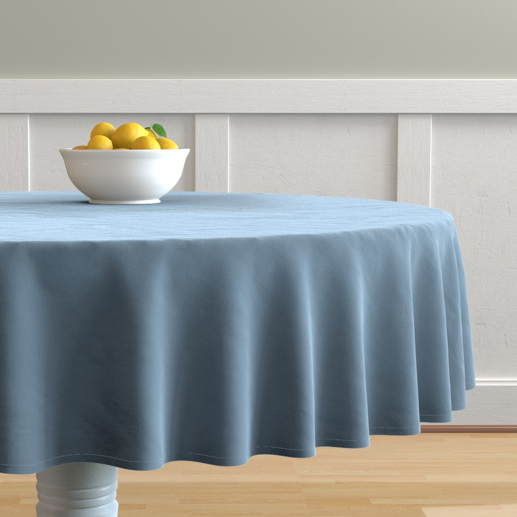 Malay Round Tablecloth featuring Solid Dusty Blue by gingezel