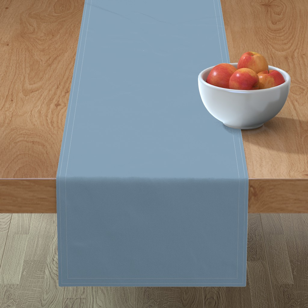 Minorca Table Runner featuring Solid Dusty Blue by gingezel