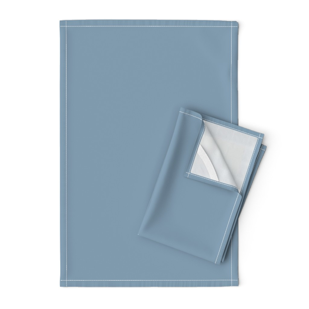 Orpington Tea Towels featuring Solid Dusty Blue by gingezel