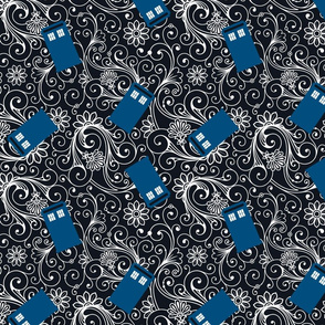 Large Blue Phone Boxes and White Swirls on Black