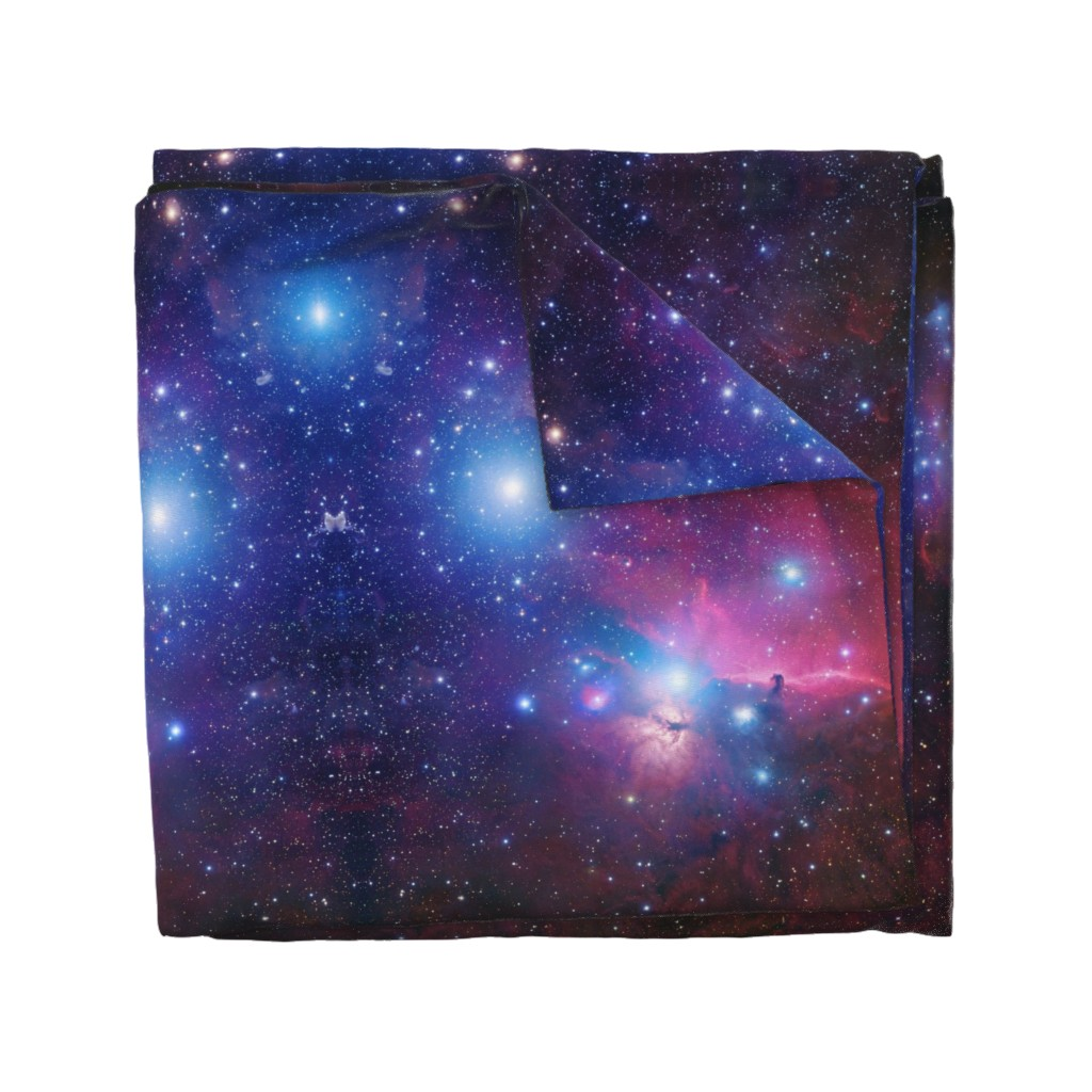 Wyandotte Duvet Cover featuring Purple galaxy by aspie_giraffe