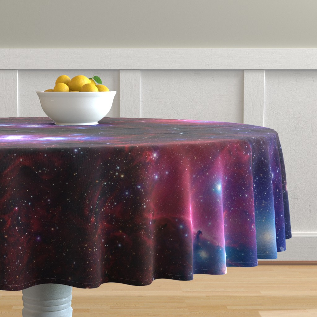 Malay Round Tablecloth featuring Purple galaxy by aspie_giraffe