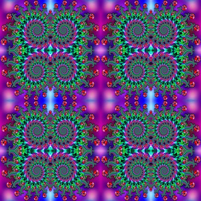 Purple and Green Bokeh Fractal Pattern