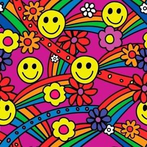 Rainbow Smiley Hippie Pattern