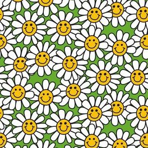 Green Smiley Daisy Flower Pattern
