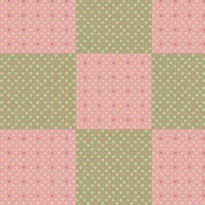 Little Flowers Pink and Green Patchwork Quilt