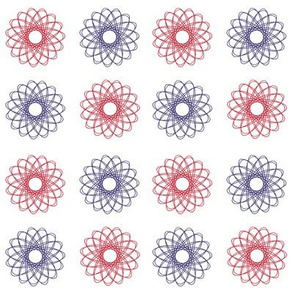 gear-drawn spirals in red, white and blue