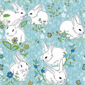 Bunny love - blue floral