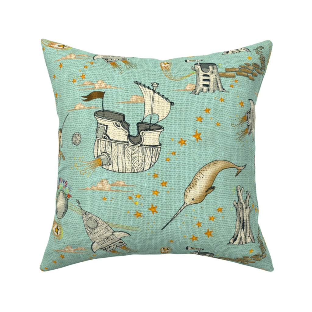 Catalan Throw Pillow featuring The Enchanted Universe (in hemp) by nouveau_bohemian