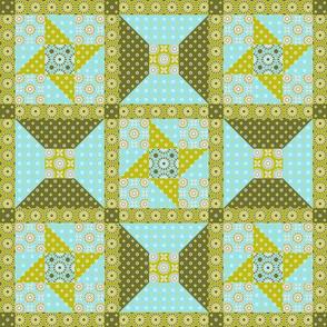 Winding Cotton - Verde Quilt Block