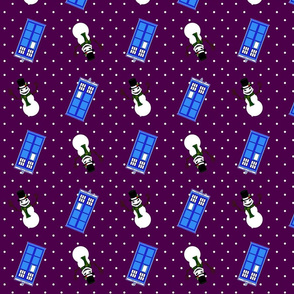 Police Box Snowmen Purple
