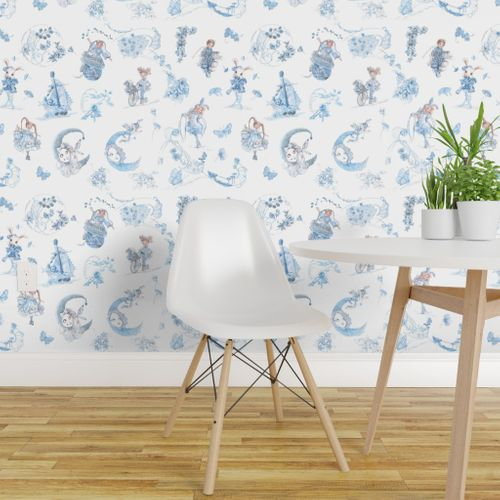 Pleasant Wallpaper Blue On White Toile De Jouy Hand Drawn Fairy Tales Machost Co Dining Chair Design Ideas Machostcouk