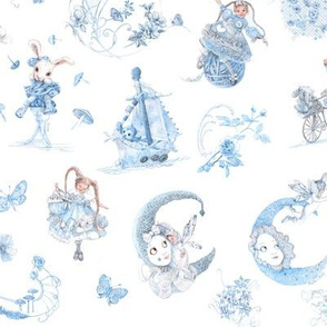 Miniature Blue on White Toile hand-drawn fairy tales