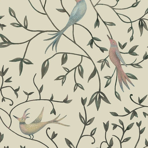 Bird and Branch - olive