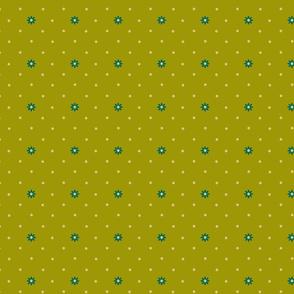 Granny Flowers Little Dot on Green