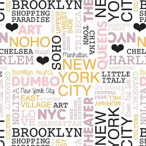 New York City pastel lovers typography pattern