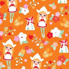 Orange Holland Dutch Icons illustration pattern