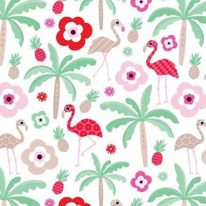 Hot summer flamingo pineapple palm tree pattern