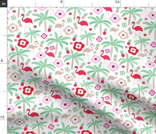 Fabric by the Yard Hot summer flamingo pineapple palm tree pattern
