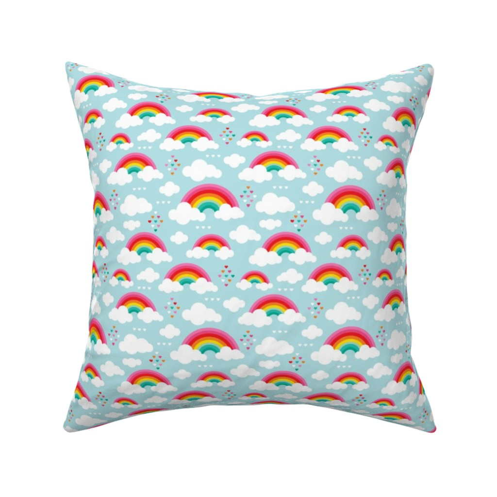 Catalan Throw Pillow featuring Cloudy blue sky rainbow dreams by littlesmilemakers