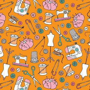 I love to sew handmade sewing machine stitch needle and DIY supply illustration pattern back to school theme