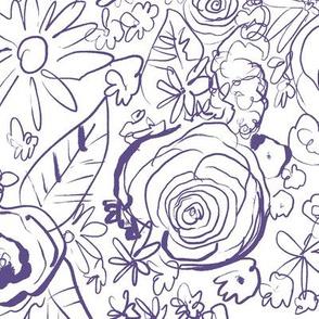 In the Garden Sketchy Floral  // Ultraviolet