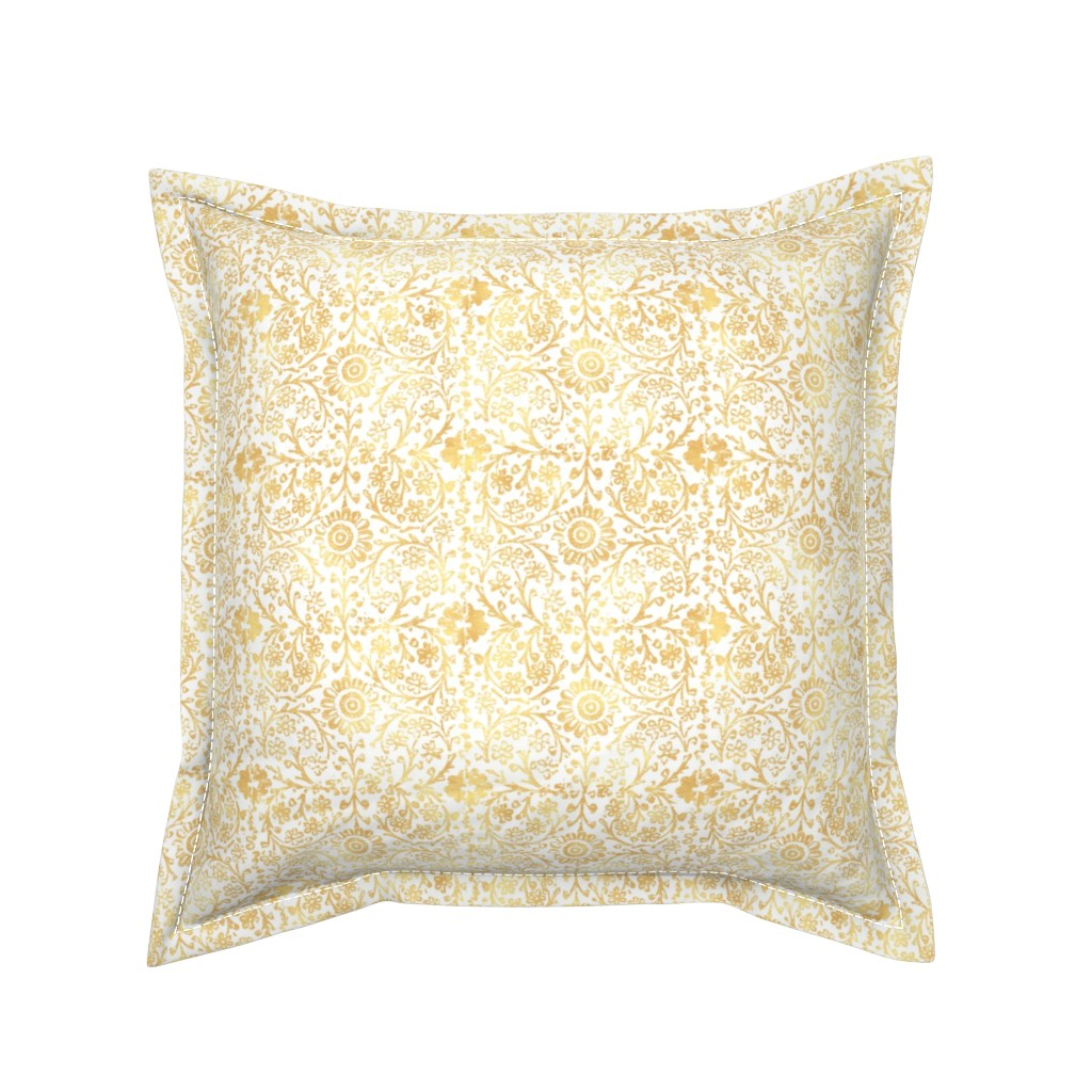 Serama Throw Pillow featuring Indian Woodblock in Gold by forest&sea